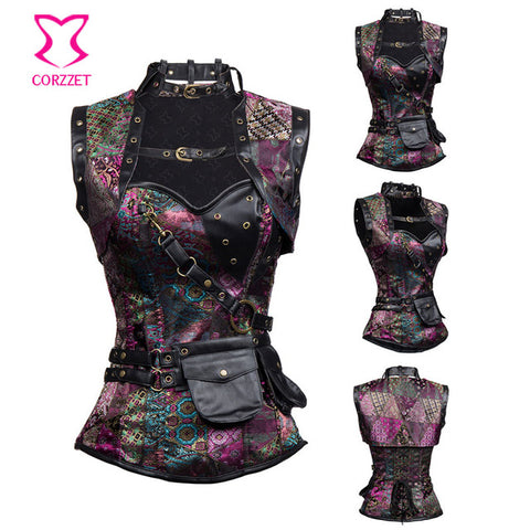 9 Sizes Floral Patterned Overbust Spandex Purple Corset with Vest