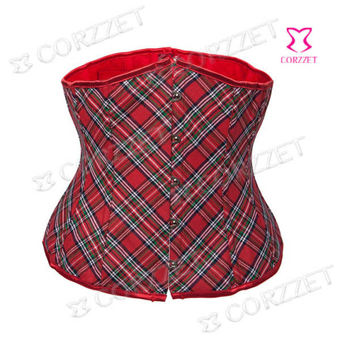5 Sizes Red Hook Closure Underbust Cotton Plaid Corset