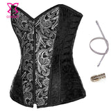 7 Sizes Brown/Black Zipper Closure Overbust Brocade Corset