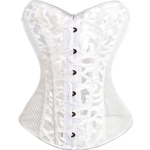 6 Sizes Black/White Appliques Decorated Overbust Polyester Steel Boned Corset