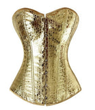 5 Sizes Gold/Silver Zipper Closure Overbust Synthetic Leather Burlesque Corset