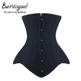 7 Sizes Black Button Closure Underbust Polyester Steel Boned Corset