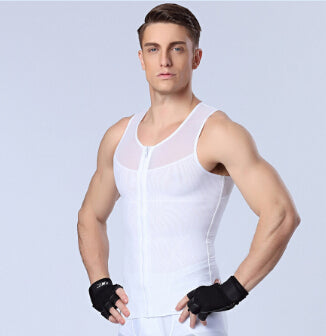 3 Sizes Black/White Zipper Closure Vest Type Nylon Male Corset
