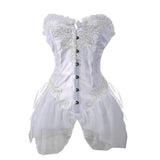 5 Sizes Black/White Polyester Blend Satin Corset