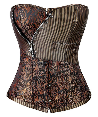 5 Sizes Brown Striped Pattern with Zipper Decoration Button Closure Polyester Plus Size Cincher Corset