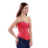 8 Sizes Black/Red Zipper Closure Polyester Leather Corset