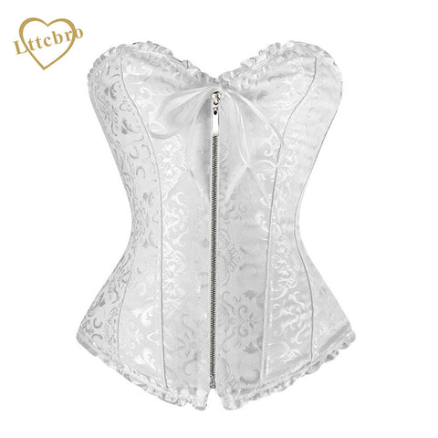 5 Sizes Bow Decorated Zipper Closure Overbust Jacquard White Corset