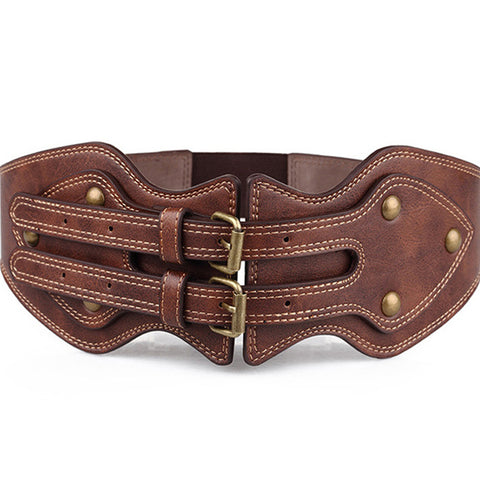 Brown 2 Buckle Waist Shaper Belt
