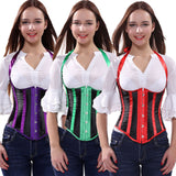 9 Sizes White/Purple/Green/Red Halter-Type Button Closure Striped Design Polyester Underbust Corset