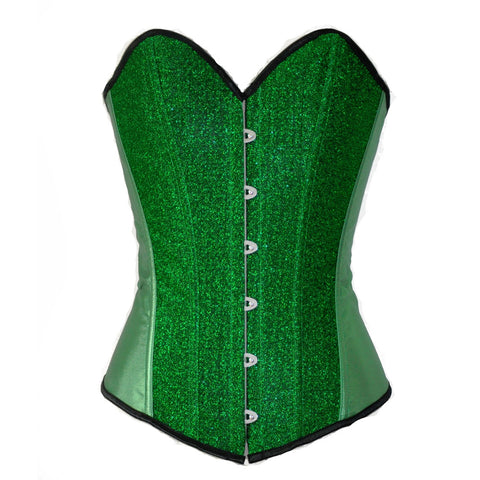 5 Sizes Button Closure Polyester Green Corset