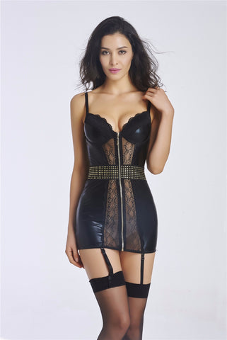 5 Sizes Black Lace with Faux Leather Zipper Closure Overbust with Strap Polyester Garter Corset