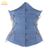 2 Sizes Blue Button Closure Underbust Spandex Denim Corset with Chain