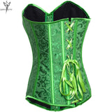 5 Sizes Button Closure Overbust Brocade Patterned Polyester Green Corset