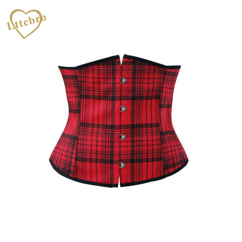 3 Sizes Plaid Button Closure Underbust Satin Red Corset