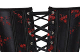 9 Sizes Black/Red Lace and Button Closure Overbust Polyester Floral Corset