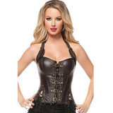 5 Sizes Black/Brown Halter-Type Buckle Closure Overbust Leather Corset