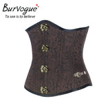 5 Sizes Black/ Brown Floral Patterned Polyester Underbust Leather Corset