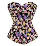 5 Sizes Black Printed Hook Closure Polyester Overbust Floral Corset