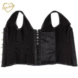 5 Sizes Black Hook Closure with Strap and Chain Design Overbust Polyester Vintage Corset