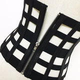 Black Geometric Designed Zipper Closure Underbust Vintage Corset