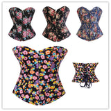 5 Sizes Blue/Pink/Green/Black Zipper and Button Closure Floral Designed Polyester Overbust Corset