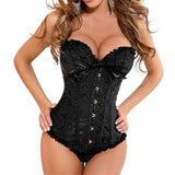 9 Sizes Black/Blue/Red and Black/Red/White Button Closure Overbust Spandex Brocade Corset