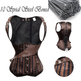 9 Sizes Black and Brown Stripes Underbust Polyester Steel Boned Corset