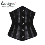 6 Sizes Black/Champagne Hollow Out Decorates Button Closure Underbust Polyester Steel Boned Corset