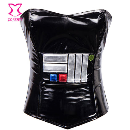 3 Sizes Black Overbust PVC Corset