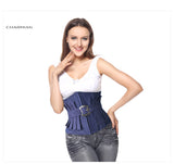 5 Sizes Blue Ruffle Design Hook Closure with Belt Underbust Polyester Denim Corset