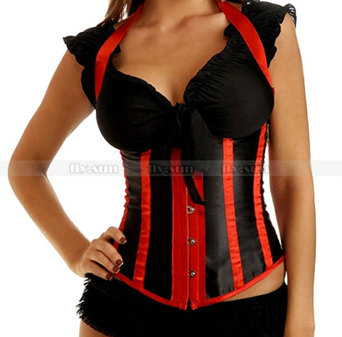 5 Sizes Button Closure Striped Halter-Type Underbust Red Corset