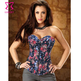 5 Sizes Black/Blue/Pink Zipper Closure Overbust Denim Floral Corset
