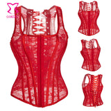 6 Sizes White/Black/Red Hook Closure Overbust Bridal Bustier