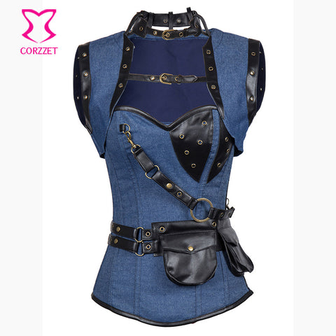 9 Sizes Blue/Black/Brown/Grey/White/Red Overbust Steampunk Corset