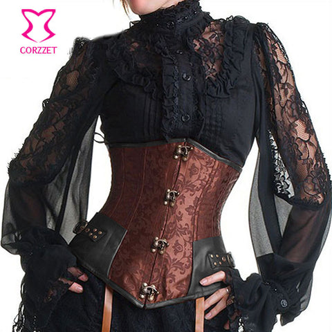 5 Sizes 6 Styles Hook Closure Underbust Faux Leather Brocade Girdle