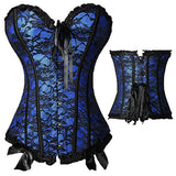 9 Sizes Blue/Black/White/Red/Purple/Green/Dark Red Lace Decorated Brocade Hook Closure Overbust Polyester Burlesque Corset