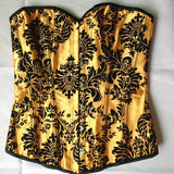 5 Sizes Yellow/Orange Printed Hook Closure Overbust Polyester Floral Corset With or Without Skirt