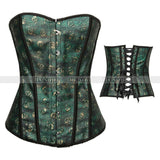 5 Sizes Skull Pattern Hook Closure Overbust Polyester Green Corset