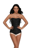 9 Sizes Black Button Closure Overbust Polyester Long Torso Waist Trainer