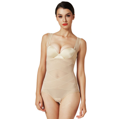 6 Sizes Beige/Black Geometric Pattern Underbust Body Shaper Bodysuit