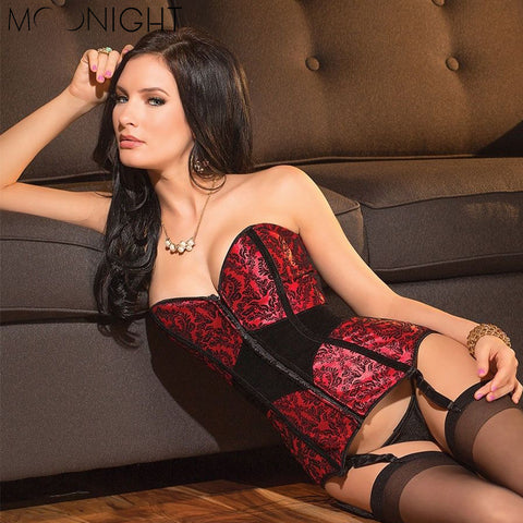 5 Sizes Red Patterned Overbust Polyester Corset Costumes