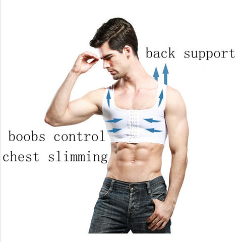 4 Sizes White/Black Hook Closure Gynecomastia Vest Nylon Extra Firm Shaper