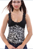 9 Sizes Black Skull Patterned Button Closure Overbust/Underbust Polyester Corset Costume