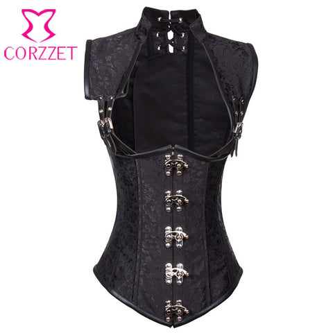 9 Sizes Black/Brown Floral Brocade Patterned Hook Closure Vest Underbust Leather Steampunk Corset
