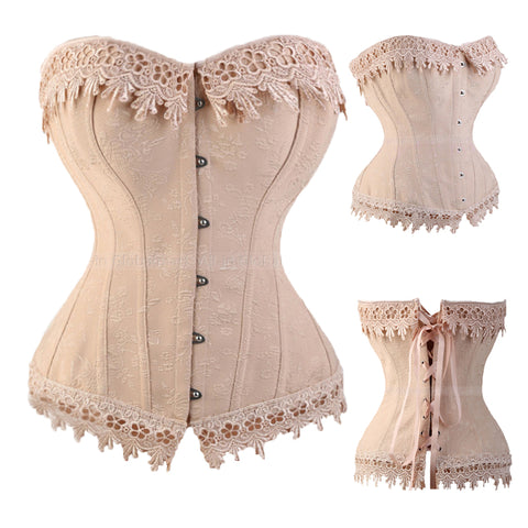 5 Sizes Beige Button Closure Overbust Polyester Lace Corset