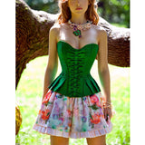 5 Sizes Bow Decorated Overbust Polyester Green Corset