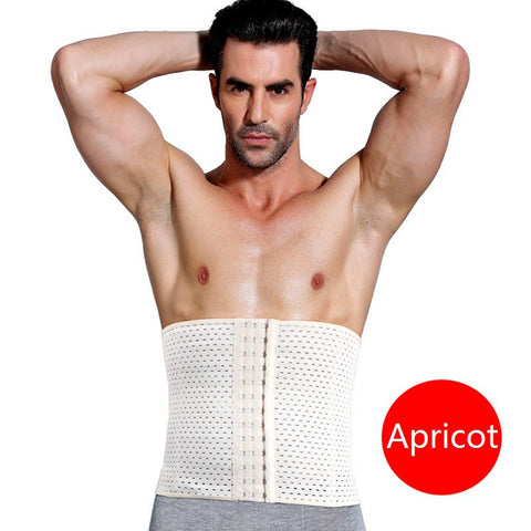 8 Sizes Apricot/Black Hook Closure Mesh Underbust Nylon Male Corset