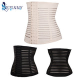 5 Sizes Flesh/Black Horizontal Mesh Stripe Design Hook Closure Underbust Rubber Waist Trainer