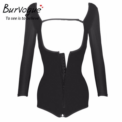 6 Sizes Black Zipper Closure with Sleeves Underbust Polyester Compression Bodysuit