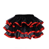 9 Sizes Red Button Closure Lace Decorated Overbust Polyester Gothic Corset